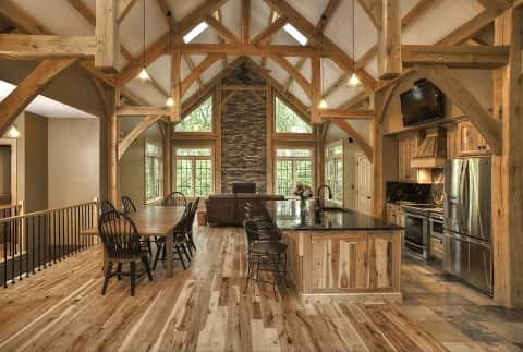 Marvelous An Unbeatable Kitchen With Cupboard And Sink On The Center Table Made  Entirely Of A Blend. Post And Beam Homes Can Have ...