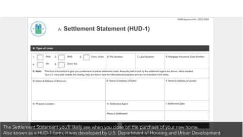 Settlement statement form to be filled on the purchase of a new home developed by the United States Department of Housing and Urban Development.