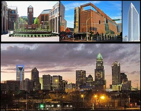 Four grids of Charlotte. Clockwise, a decorated circle surrounded by houses, A tower in a busy street, A pointed glass tower and An evening view of the city's skyline.