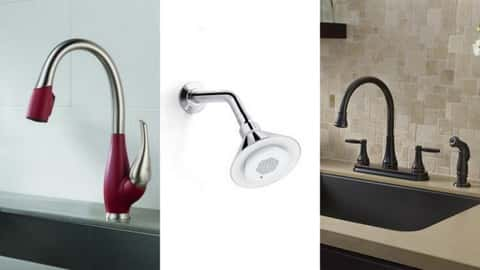 Three different designs of faucets. The first and the last are meant to be fitted to a sink while the one in the middle is for shower.