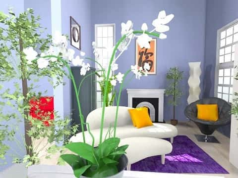 Simple home design with a sofa, a fireplace, and flowers. It shows the blending of colors.