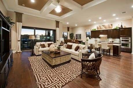 A Beautiful And Large Living Room Combined With The Kitchen That Is In The  Back Of Part 44