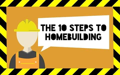 Construction sign with yellow and black stripes with the drawing of a kitted construction worker giving hint to homebuilding.