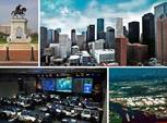 Four grids showing different places in Houston. Clockwise, A statue of a man on a horse, Skyline of the city towers, Aerial view of the city and IT Center.