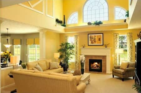 A breathtaking interior decoration of a home showcasing the perfect blend of gold and green.