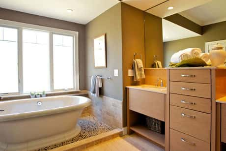 A beautifully and elegantly-designed bathroom area in a perfectly-built house, located in Hingham, Massachusetts.