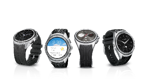 Four different designs of smart watches with black straps placed side by side are oriented in different directions.