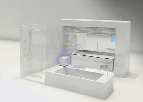 An illustration of the projected design of a future bathroom with high-tech design elements and functionality.