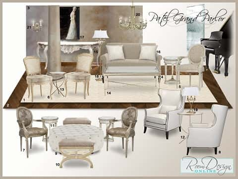 A brown-and-white board design idea of what a top-notch grand parlor looks like.
