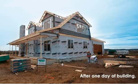 A demonstration of how fast the construction of a wooden house by Wausau  Homes can be