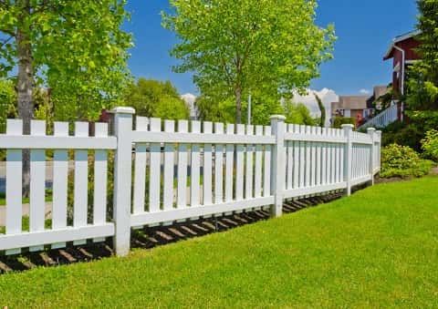 White picket fence demarcating the lawn with carpet green vegetation from the swimming pool area.