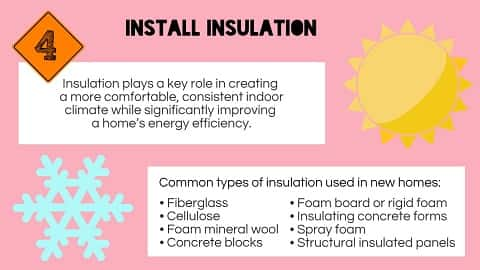Insulation is installed in the fourth stage of construction to improve the home energy efficiency.