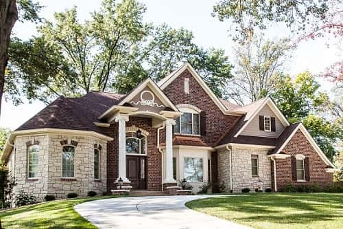 Exterior of a new custom home from Chesterfield, Missouri. Photos courtesy of Hibbs Homes.