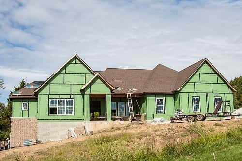 Exterior of a new custom home, nearly complete. Photo courtesy of Hibbs Homes