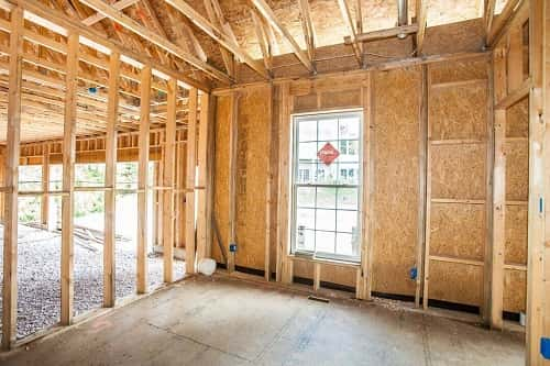 Interior of a custom new home, mid-construction. Image courtesy of Hibbs Homes