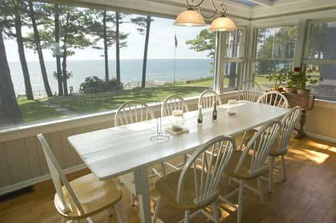 Dining Room at a summer cottage on the lake.