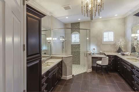 An elegant bathroom is part of the master suite in a Southwest Florida home.