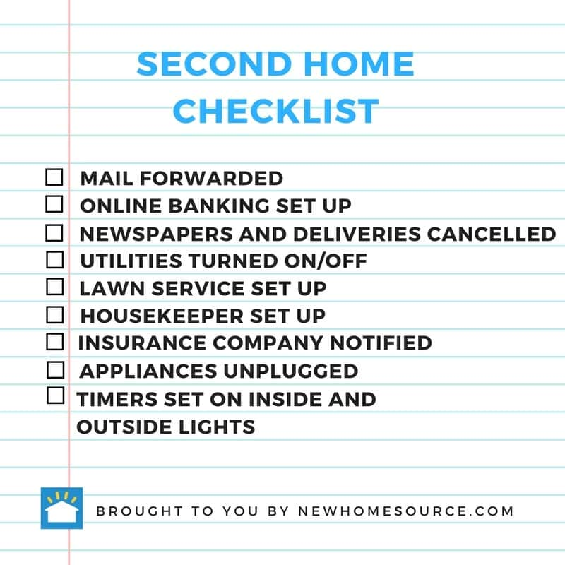 Infographic of a checklist for those who have two homes and what they should remember to do before leaving one home for the other.