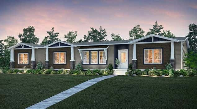 Rendering of the front of a Clayton Homes manufactured home