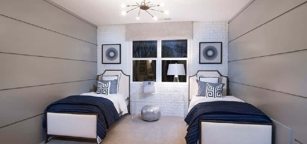 "<p>Exposed brick in a home gives it an industrial feel, but exposed brick can also feel stark and cold. Using painted brick, like in this shared bedroom, can give any room a retro, hip vibe, but it also adds warmth.</p> <p> </p> <p>Pulte says painted brick, ""Can be used to add texture and a loft-like feel, without the heaviness of exposed brick.""Whether your outdoor space is large or small, take advantage this area as an extension of your home by using pavers and a lawn set and some plants that will liven up the place.</p> <p> </p> <p><em>Photo courtesy of The Wilbert Group</em></p>"