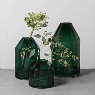 Glass jug vase in deep green from the Hearth & Hand with Magnolia line from Target.