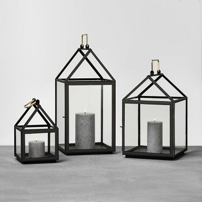 Black metal house-shaped lantern from the Hearth & Hand with Magnolia line from Target.
