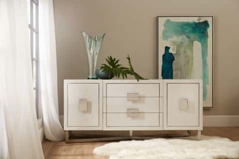 A bold statement-maker, the Kensington console from Hooker Furniture offers a modern take on white. HookerFurniture.com