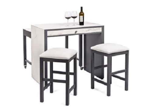 Perfect for stylish small-space living, Sarried's bar with matching stools captures the designer look of white marble.