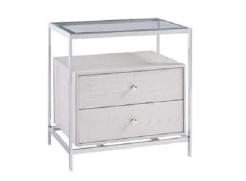 White ash veneers and brushed stainless steel hardware add depth and dimension to this modern nightstand framed in stainless steel and topped with glass