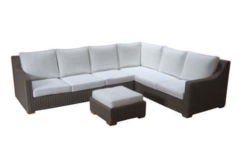 White is equally popular in outdoor furnishings these days, as seen in the Nautilus outdoor sectional from Padma's Plantation