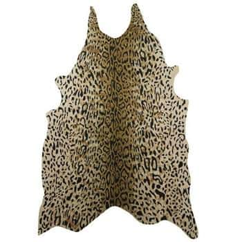 A rug with a leopard print is one item of the Omedelbar line from IKEA's collaboration with Bea Åkerlund.