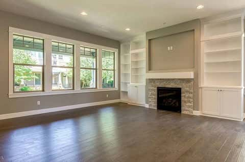 The great room of the Cypress plan by 2 Creeks Construction sits unfurnished, giving homeowners a chance to put their design mark on it. Located in the Camas Meadows community in Camas, WA.