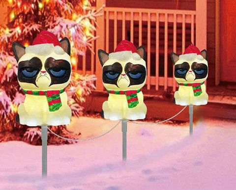 A Set Of Three Outdoor Lights With Grumpy Cat Santa Hat And Green Hello Bad Christmas Decorations