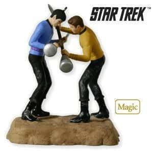 Christmas tree ornament of Star Trek's Dr. Spock and Captain Kirk fighting to the death.
