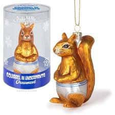 In our series of bad holiday decorations, this squirrel in white underpants ornament is one of the worst ornament ideas.