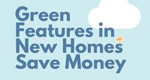 New Home Green Features Infographic with Green Features in New Homes Save Money with blue background and a white cloud.