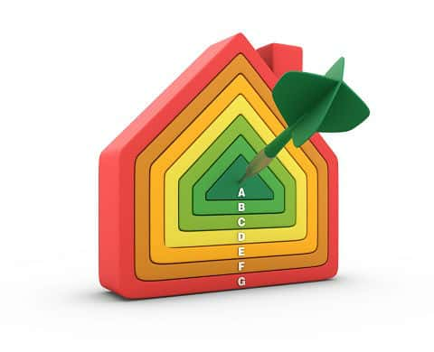 Home with different colored outlines to represent energy efficiency with green target in the middle being the highest degree of energy efficiency.