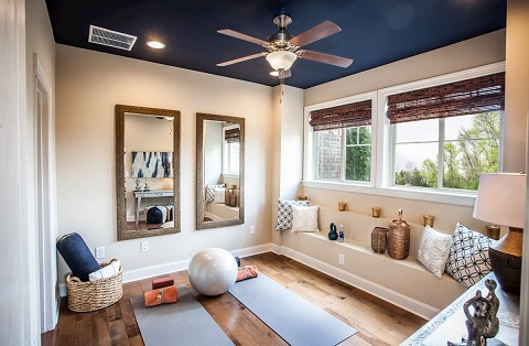 Yoga room in a Charleston by Beazer Homes townhome at Hadley Township. Sugar Hill, Georgia. Image courtesy of Beazer Homes.