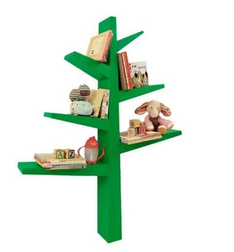 "The Babyletto Spruce Tree Bookcase, available from Target, is a green, white or gray wooden bookcase shaped like a tree, with ""branches"" that you can store books."