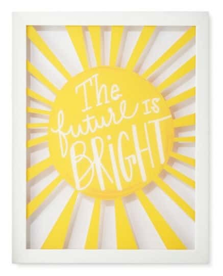 "Framed yellow wall art that says ""The Future Is Bright."""