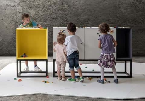 Studio NINE's modular furniture collection, stüda, which incorporates LEGO brick elements that can be enjoyed by adults and children alike.