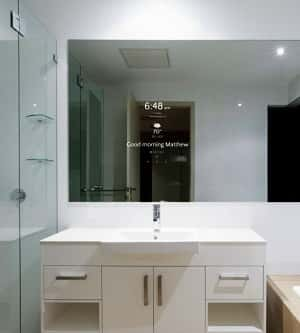 Your bathroom mirror can now deliver smart phone functionality while keeping your vanity top clear.