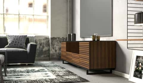 Home theater cabinetry modular units designed for whatever equipment you need to house in finishes that will complement the rest of the room.