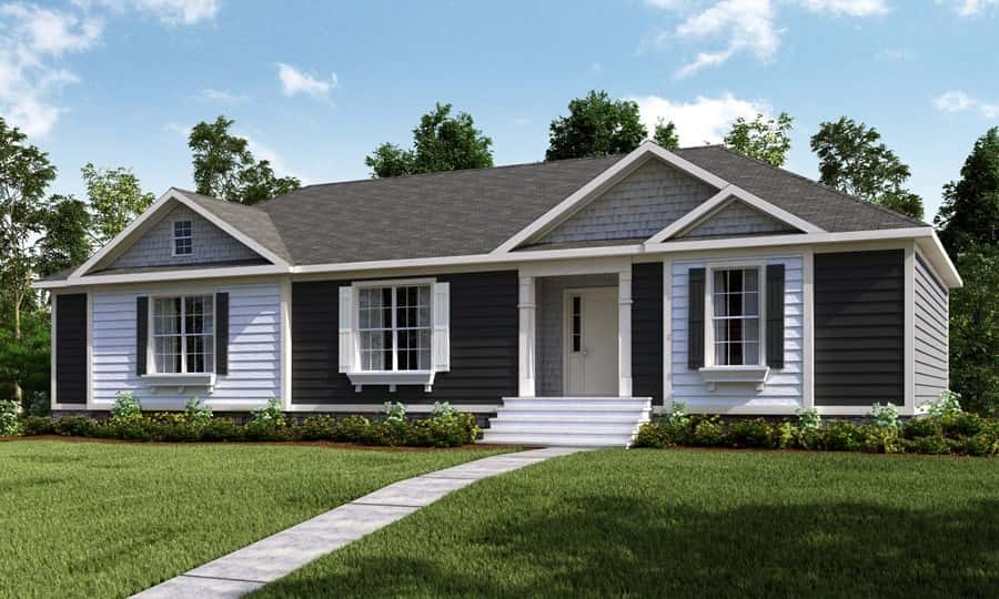 Blue and white vinyl siding and dormer windows are classic touches on the exterior of the 2483 66X32 CK3+2 Heritage Mod plan by Clayton Homes in Spartanburg, S.C.