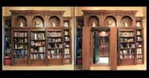 Two bookcase shelves act as a secret door, hiding away a safe room. Built by Creative Home Engineering, based in Gilbert, Ariz. Courtesy of Creative Home Engineering.
