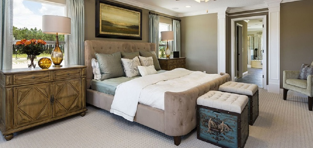 "Unlike your typical master suite, this room takes up one entire side of the second floor. ""It's expansive with two large walk-in closets, says Jackson."" But wait, there's more! ""The master also has a sitting room built into the entrance for the homeowner to sit down in the privacy of their master suite and relax.""<br /> <br /> Also unlike your typical master suite, this one can be accessed by a private, second staircase. ""It's all about beauty and convenience,"" says Jackson.<br /> <br /> PHOTO COURTESY OF<br /> Royal Oaks Homes"
