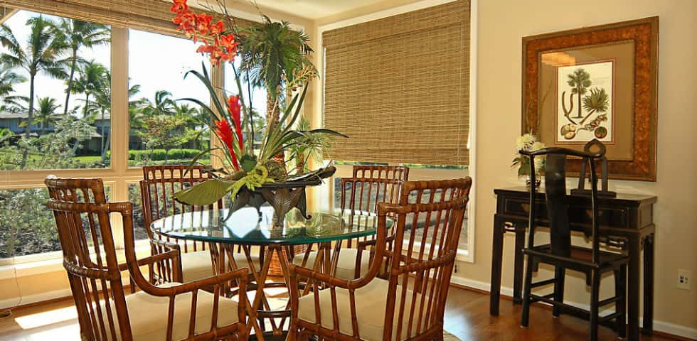 Just off the kitchen and looking out onto the great room and covered lanai sits the home's dining room – a perfect place to enjoy a meal while enjoying a Hawaiian sunset. With no walls separating the main floor's shared living spaces, the Mahina's wide-open floor plan is reflection of the Big Island's natural, airy feeling.<br /> <br /> Whether you prefer snacking at the kitchen island, setting a formal table or dining al fresco, the Mahina is an ideal setting for entertaining, planning holiday get-togethers and hosting friends and family for special occasions, says Gorospe.<br /> <br /> PHOTO COURTESY OF<br /> Brookfield Homes Hawaii