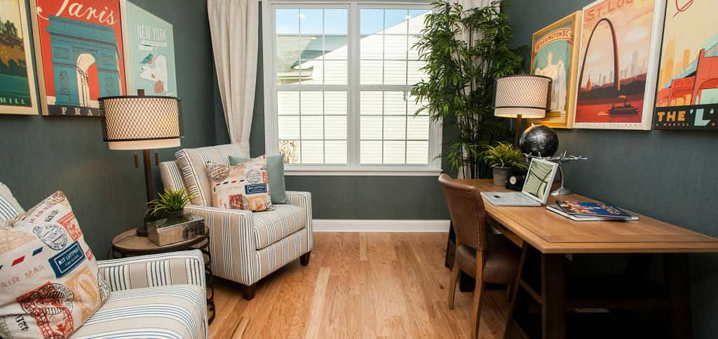 <p>Most homebuyers opt to use the home's flex room as a den or library, McCracken says. Pictured here, the flex room is the perfect-sized home office.<br /> <br /> Other options you can choose for the Abbeyville plan include an optional sunroom, covered or screen-in porch and the option to expand the garage for more storage space.</p> <p >PHOTO COURTESY OF<br /> Del Webb</p>