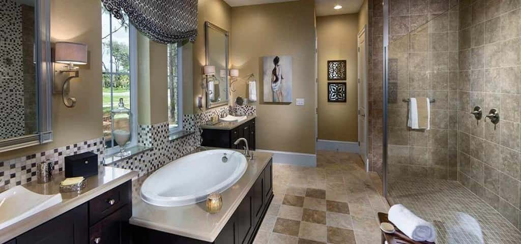 Bathtub optional, the Durango Plan's bathroom suite is extremely spacious. Perfect for pampering yourself, you'll find a large and luxurious walk-in shower, whether you opt for the giant soaking tub or not.<br /> <br /> Other options you'll find in the Durango Plan include an extended lanai in the backyard, cantina or sliding glass doors onto the lanai and an optional pool bathroom.<br /> <br /> PHOTO COURTESY OF<br /> Ashton Woods Homes