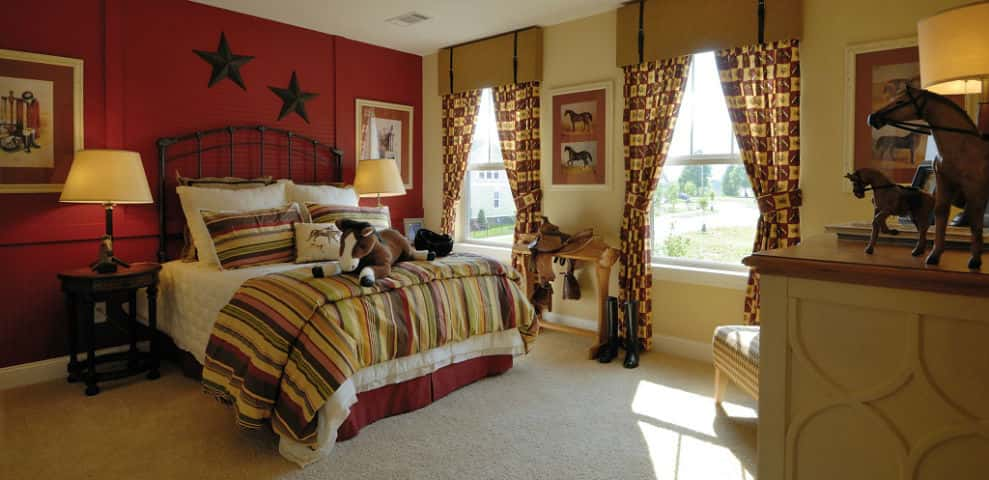 "The home's other bedrooms are equally spacious for versatility. Got kids? The downstairs bedrooms provide lots of room to play for little cowboys and cowgirls. No kids or an empty nester? These rooms will provide a comfortable place for guests any time of year.<br /> <br /> ""This plan really gives homeowners a lot of freedom of space and allows them to have a separation from the master bedroom upstairs and the bedrooms on the first floor to give everyone privacy.""<br /> <br /> PHOTO COURTESY OF<br /> The Jones Company of Tennessee"